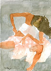watercolor, painting, orange, braun, rose, white, nude, woman