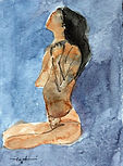 #watercolor #painting #nude #woman #black #blue #水彩画 #女子 #裸体