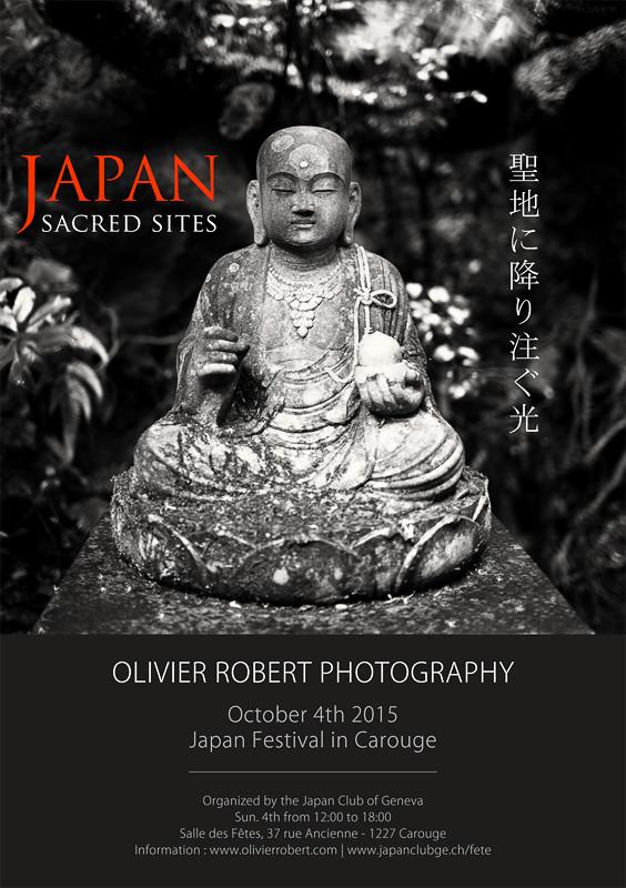 Flyer de l'exposition du photographe Olivier Robert sur les sites sacrés du Japon.