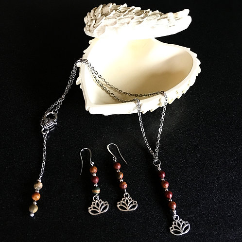 Lotus Flower Earring and Necklace Set