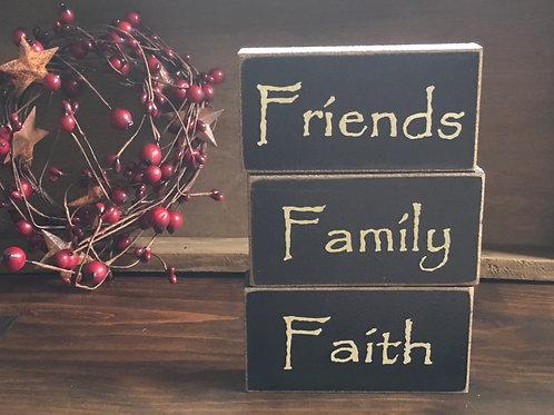 Faith, Family, Friends Wooden Blocks