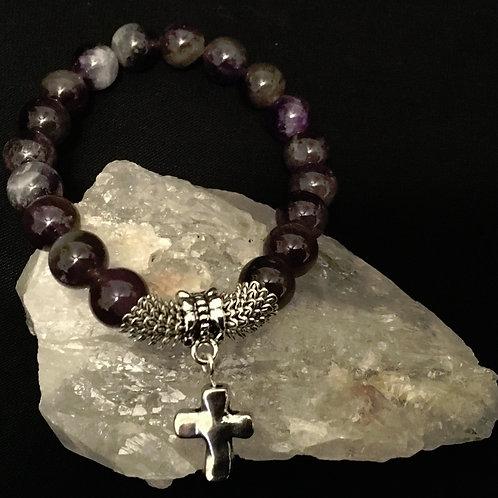 Amethyst Stretch Cross Bracelet