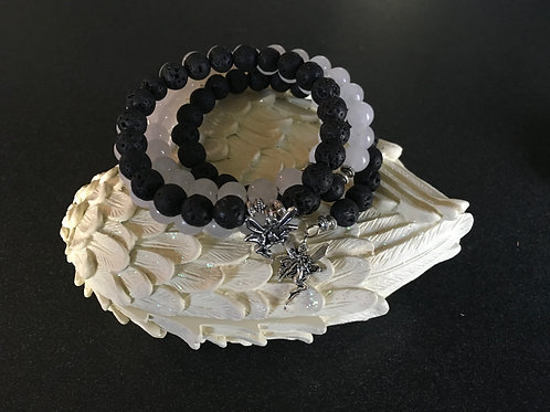 Lava Stone and Moonstone Memory Bracelet with Charms