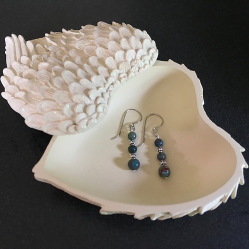 Blue Lace Agate Hanging Earrings