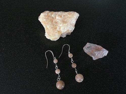 Three Tier Moonstone Earrings