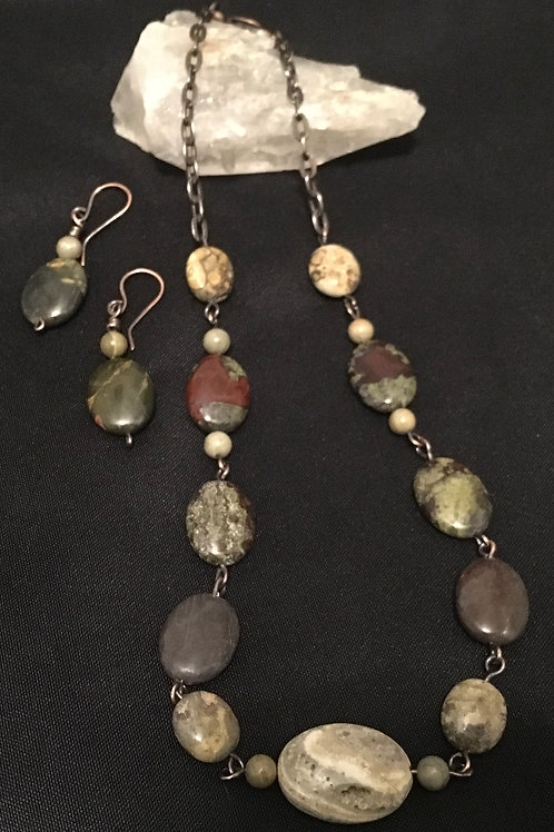 Picasso Jasper Necklace and Earring Set