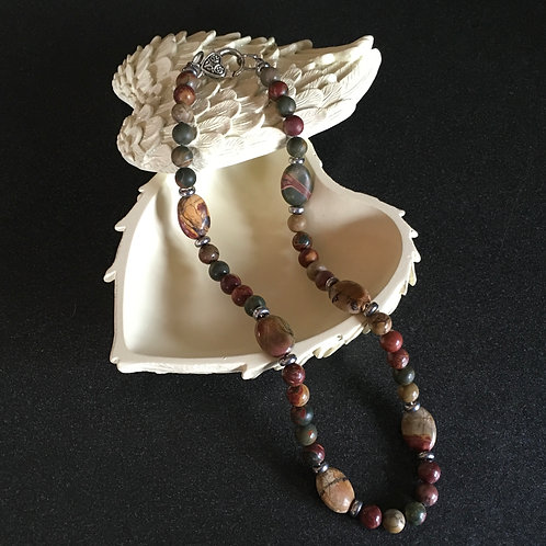 Picasso Jasper Bead and Pendant Necklace