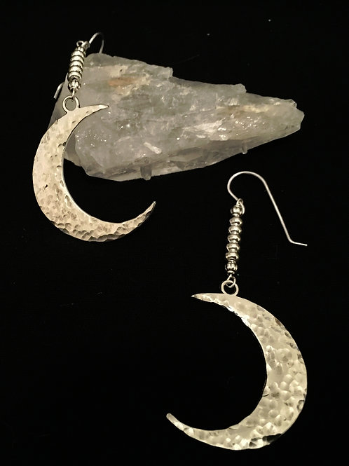 Hammered Crescent Moon Earrings