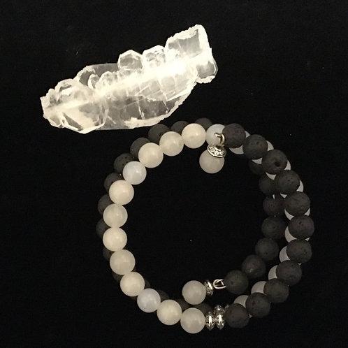 White Jade and Lava Memory Bracelet