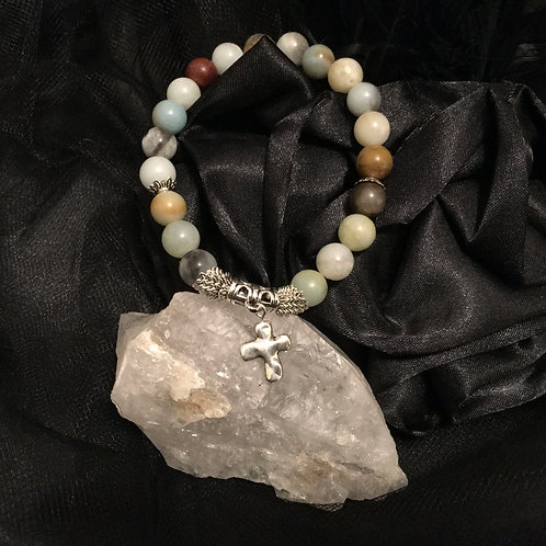 Amazonite Stretch Cross Bracelet