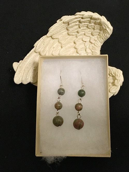 3 Tier Unakite Earrings