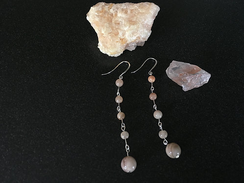 Five Tier Moonstone Earrings