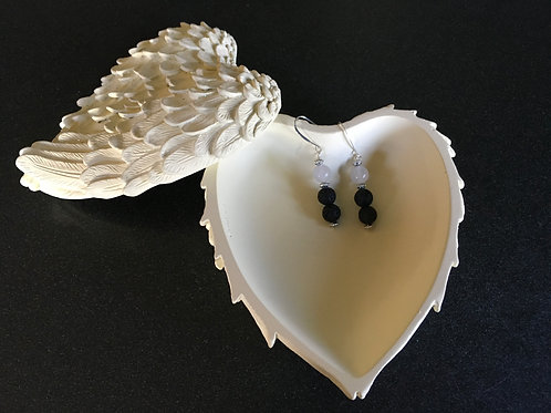 Lava Stone and Moonstone Earrings