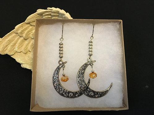 Carved Half Moon Earrings