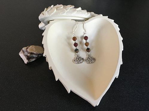 Lotus Flower and Mookaite Stone Earrings