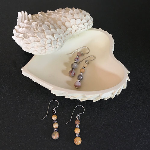Crazy Lace Agate Hanging Earrings