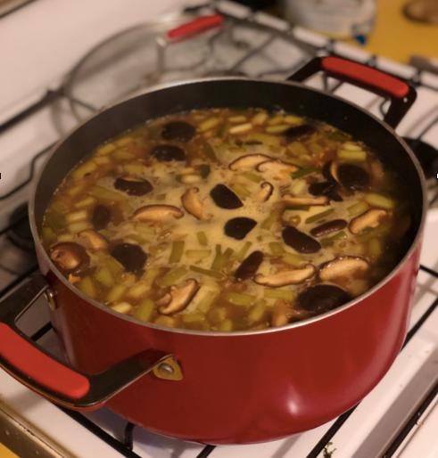 Immune boosting shitake bone broth soup