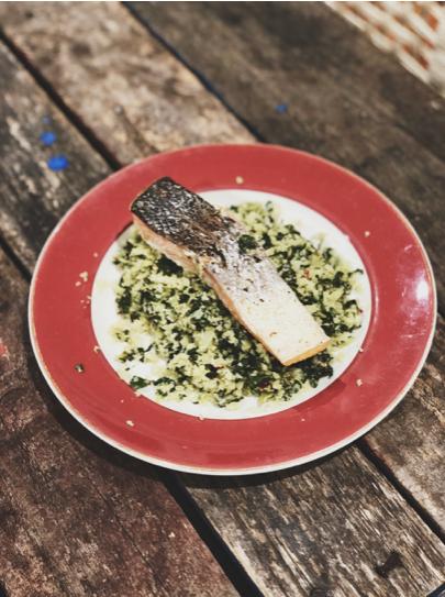 Roasted Atlantic salmon and cauliflower silver beet rice
