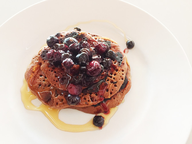 Cacao & Blueberry pancakes - GF|DF