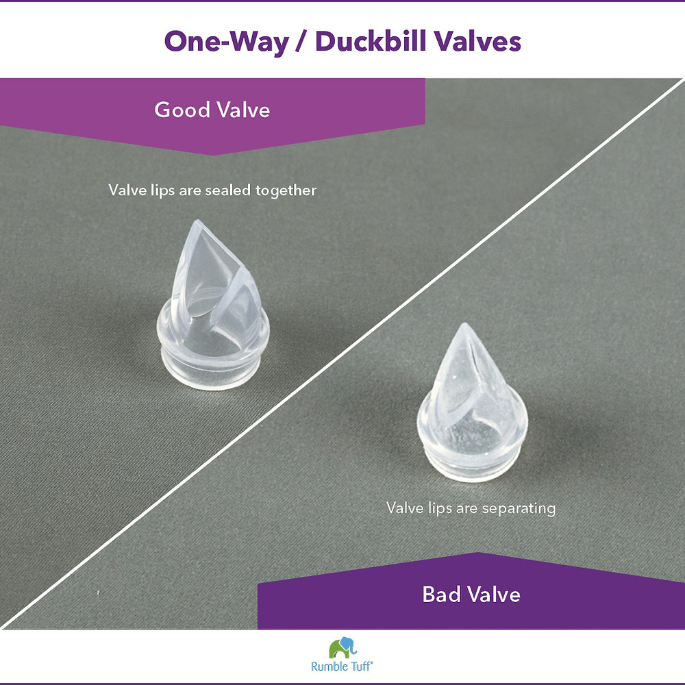 Image showing two duckbill valves. One valve shows a tight seal and the other shows a separated seal.