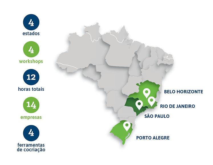 Mapa com as regiões onde foram realizadas os diálogos estratégicos e a cocriação. 4 estados (RS, SP, RJ e MG), com 14 empresas diferentes.