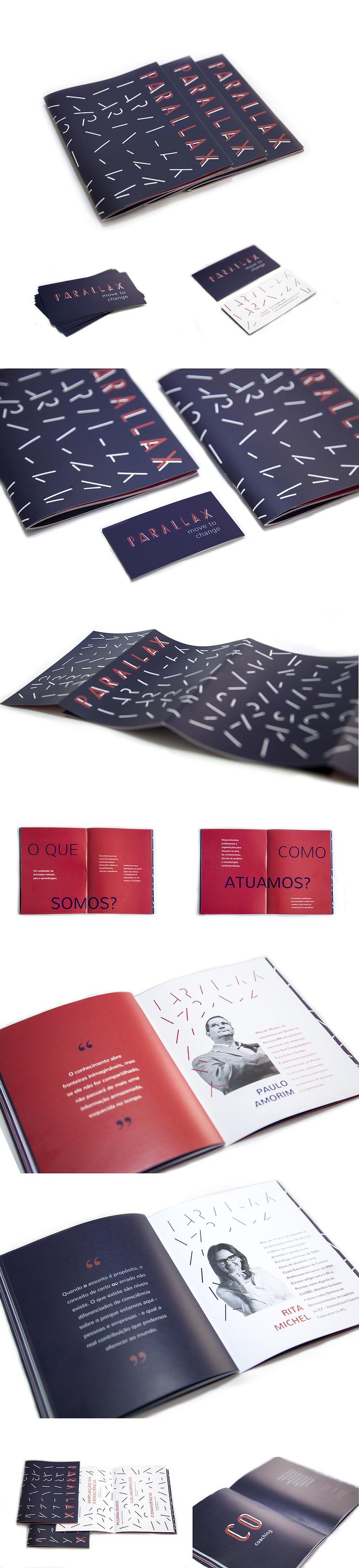 Aplicação da identidade em materiais impressos: livreto de apresentação e cartão de visitas.