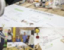 Pessoas em volta de uma mesa com um mapa de cocriação
