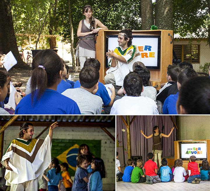 Vivência Ser Árvore em escolas públicas do Rio Grande do Sul, com foco na educação para sustentabilidade.