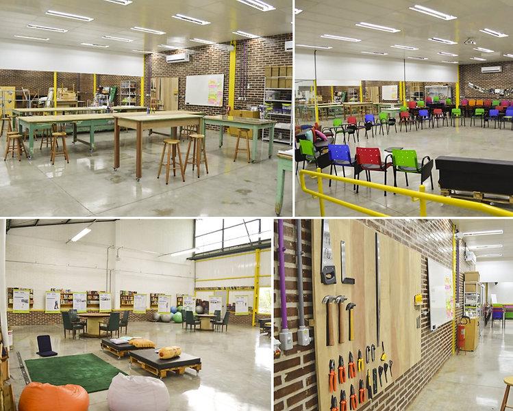 Estrutura do LAB de Inovação social da Mercur e dos seus diferentes ambientes. Mesas para corte, cadeira em cículos para palestras e workshops, ferramentas para trabalhos manuais e áreas de descanso.