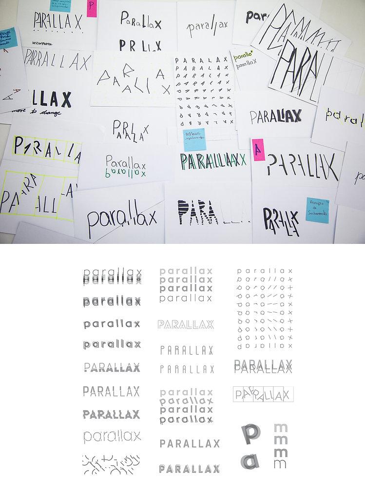 Esboços da identidade, processo de criação da marca.