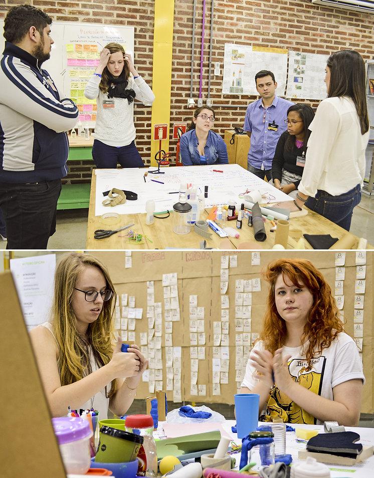 Oficina de cocriação com a rede e os colaboradores. Pessoas em volta à mesa discutem sobre um framework de cocriação