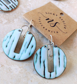 Winter white enamel earrings