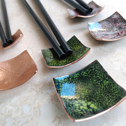 Recycled copper chopstick rests