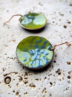 Green and grey enamelled earrings