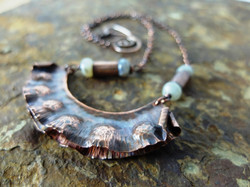 Hammered copper seed pod necklace 3