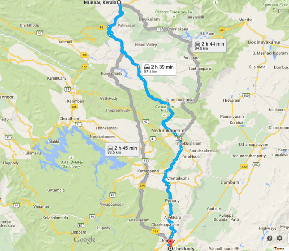 Distance from Munnar to Thekkady