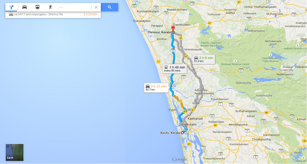 Distance from Thrissur to Kochi