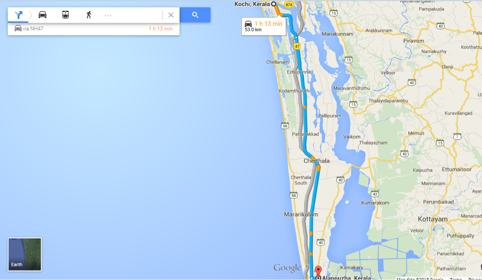 Distance from Kochi to Alleppey
