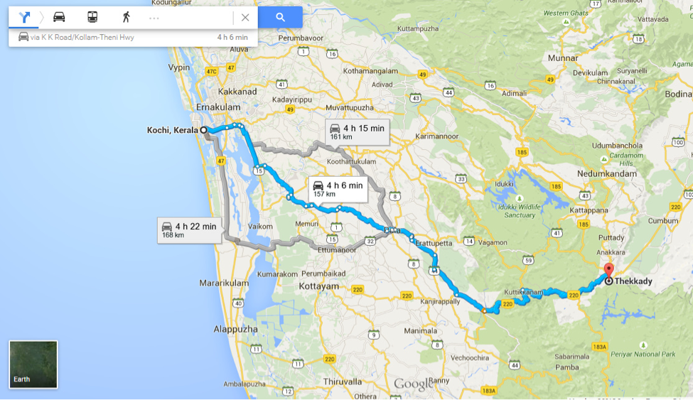 Distance from Kochi to Thekkady