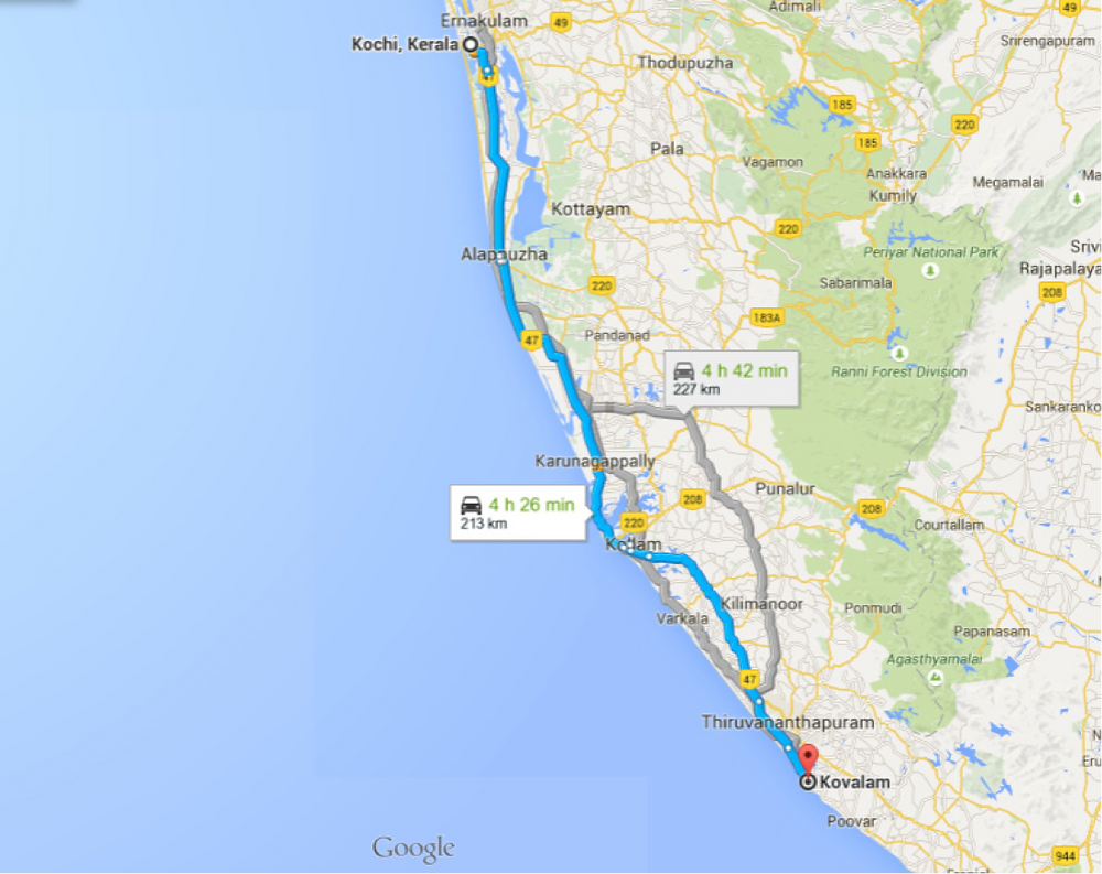 Distance from Kochi to  Kovalam