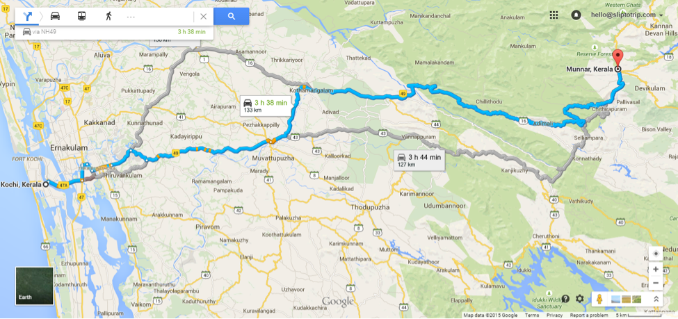 Distance from Kochi to Munnar