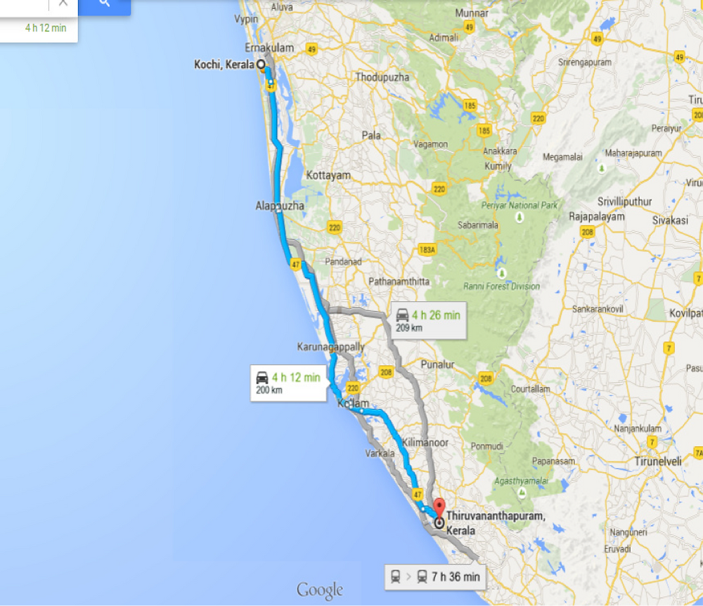 Distance from Kochi to Thiruvananthapuram