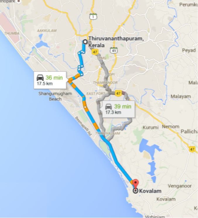 Distance from Thiruvananthapuram to Kovalam