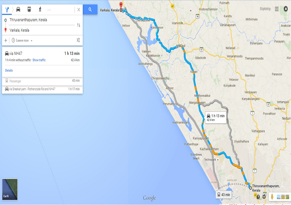 Distance from Thiruvananthapuram to Varkala