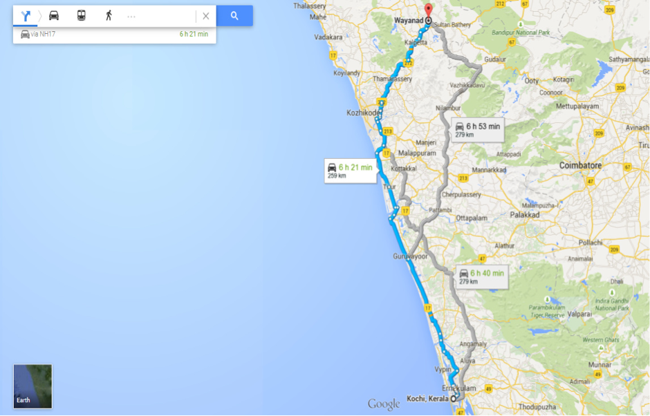 Distance from Wayanad to Kochi