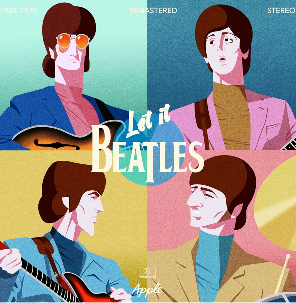 Gilles Warmoes illustration graphic design.The Fab Four Remastered-1962-1970