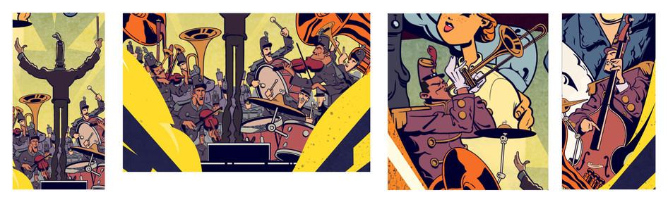 Gilles Warmoes Illustration Graphic Design 100years for Twenty Century Fox première magazine detail