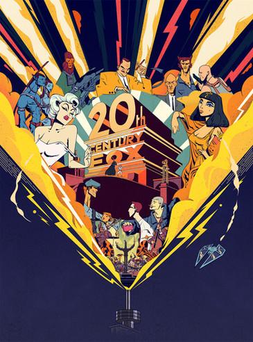 Gilles Warmoes Illustration Graphic Design 100years for Twenty Century Fox première magazine