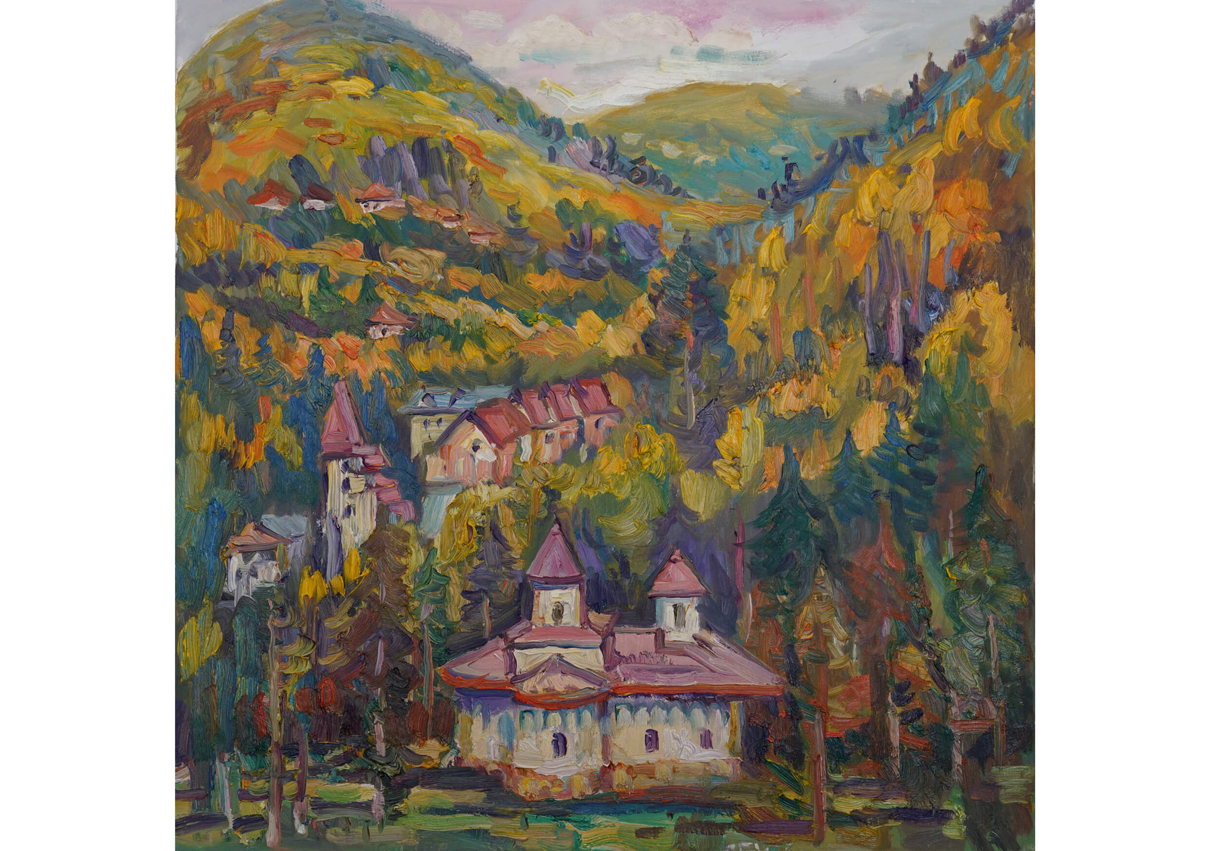 The church of Slanic, Oil on canvas, 80 x 80 cm