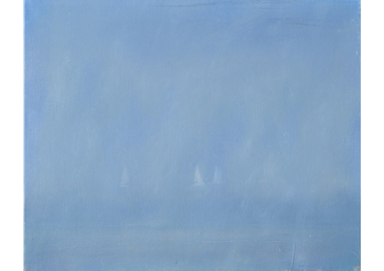 Foggy Sunday at Deauville, Oil on canvas, 27 x 22 cm